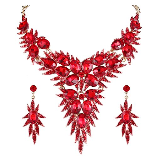 Gold Red Necklace Crystal (BriLove Gold-Toned Jewelry Set Women's Wedding Bridal Statement Necklace Dangle Earrings Set with Crystal Multi Oval-Shape Flower Leaf Ruby Color)