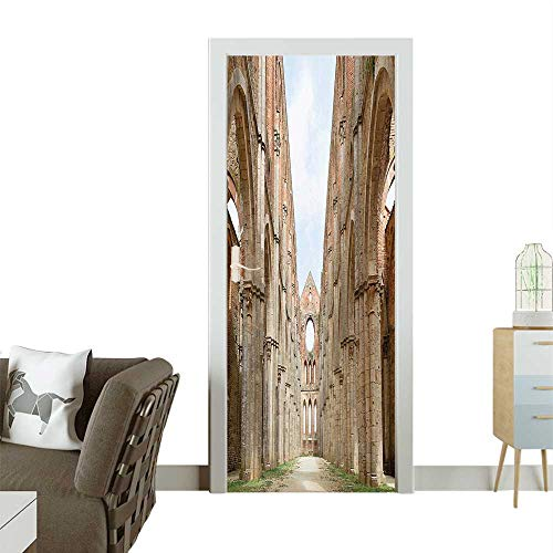 Homesonne Decorative Door Decal Antique Ab ed Big Abbey Open Sunny Day istic Photo Brown Stick The Picture on The doorW35.4 x H78.7 -
