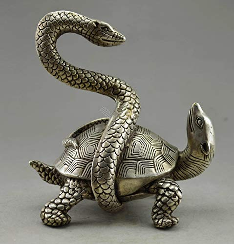 BeesClover Collectible Decorated Old Handwork Tibet Silver Snake Tortoise Exorcism Statue Copper Tools Wedding Decoration Brass Bronze Show by BeesClover (Image #2)