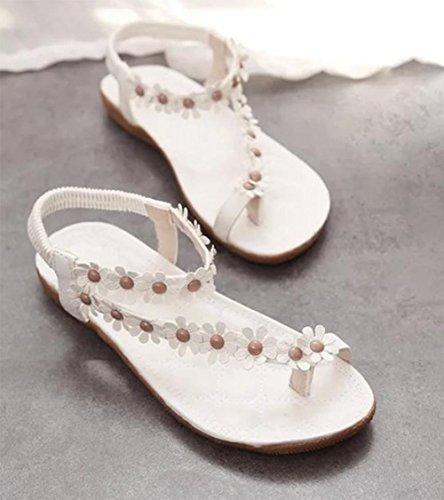 Student flache Sandalen weiblicher Sommer Strass-Sandalen mit flachen Sandalen Größe Frauen white