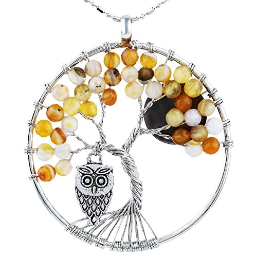 SUNYIK Faceted Agate Tree of Life Necklce, Wire Wrapped Pendant Owl and Moon,Yellow