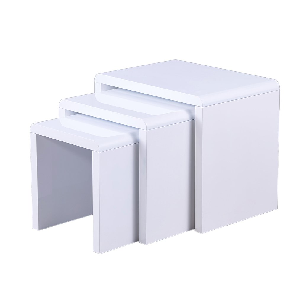 Remsoft Set of 3 Nesting End Table Square Coffee Cocktail Table (Glossy White) by REMSOFT