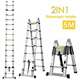 Fixkit 5M Aluminum Telescopic/Telescoping- Ladder Multi Purpose Foldable & Extendable Ladder with Stabiliser Bar (8+8 Steps)