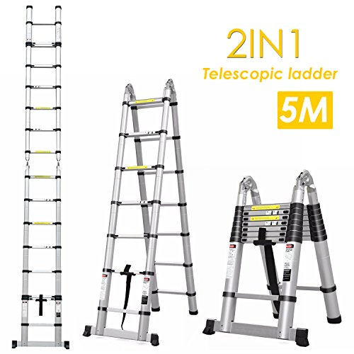 Fixkit 5M Aluminum Telescopic/Telescoping- Ladder Multi Purpose Foldable & Extendable Ladder with Stabiliser Bar (8+8 Steps)