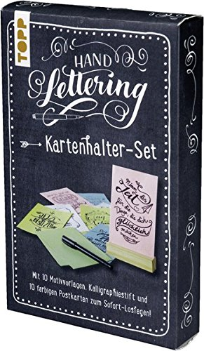 Handlettering Kartenhalter-Set: Kartenhalter mit 10 Postkarten zum Handlettern