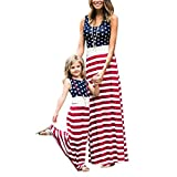 4th of July American Flag Mommy and Me Stripe Stitching Beach Maxi Dresses (Red, L)