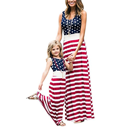 (4th of July American Flag Mommy and Me Stripe Stitching Beach Maxi Dresses (Red,)