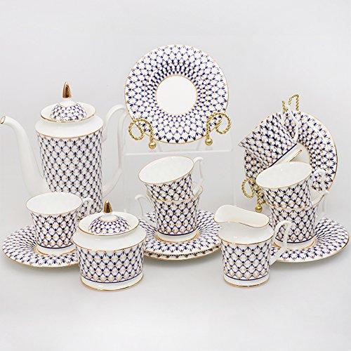"Imperial 15-Piece Juego de café para 6 personas de porcelana ""Red de cobalto"