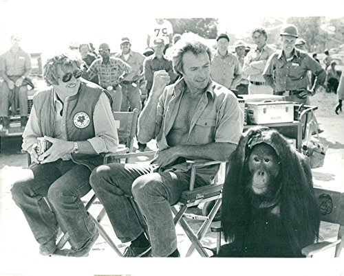 Vintage photo of Clint Eastwood with director James Fargo and the opponent  Orangutan