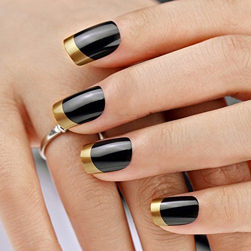 Bling Art False Nails French Manicure Dipped in Gold Full Cover Medium Tips UK