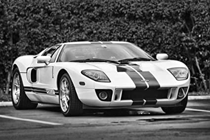 Ford Gt Right Front Black And White Hd Poster Super Car  Inch Print
