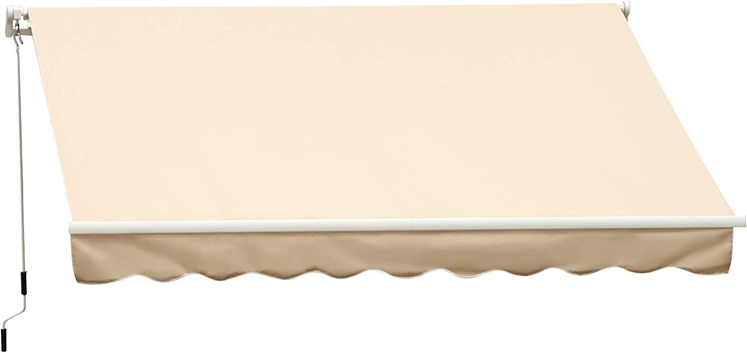 Outsunny 13' x 8' Manual Retractable Sun Shade Patio Awning with Durable Design & Adjustable Length Canopy, Beige
