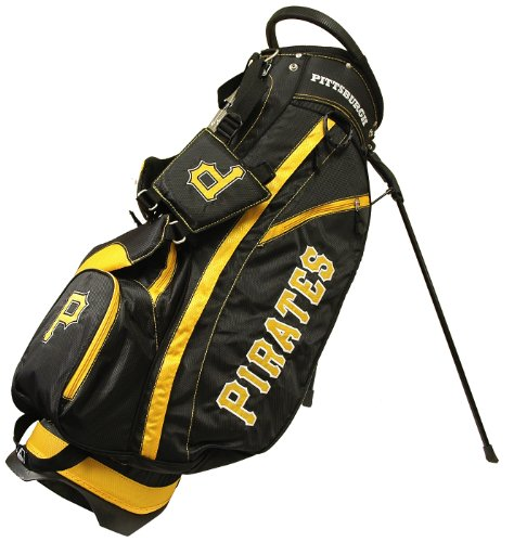 Team Golf MLB Pittsburgh Pirates Fairway Golf Stand Bag, Lightweight, 14-way Top, Spring Action Stand, Insulated Cooler Pocket, Padded Strap, Umbrella Holder & Removable Rain Hood ()