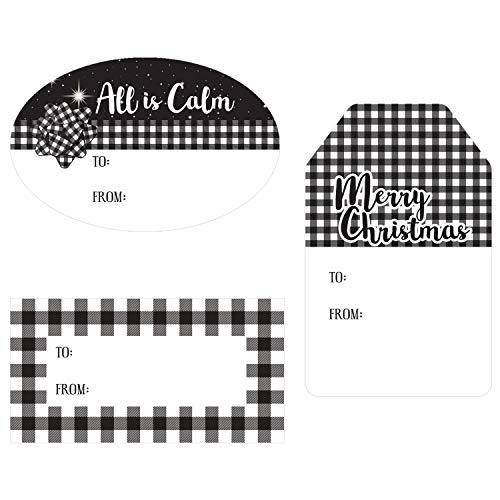 Christmas Gift Tags Assortment, 76 Stickers (Black and White Theme)