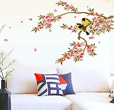 BIBITIME DIY Wall Decal Peach Blossom Wall Stickers & Japanese Cherry Blossom Tree Wall Stickers Branches Love Birds Wall Decals Removable Wall Mural Sticker