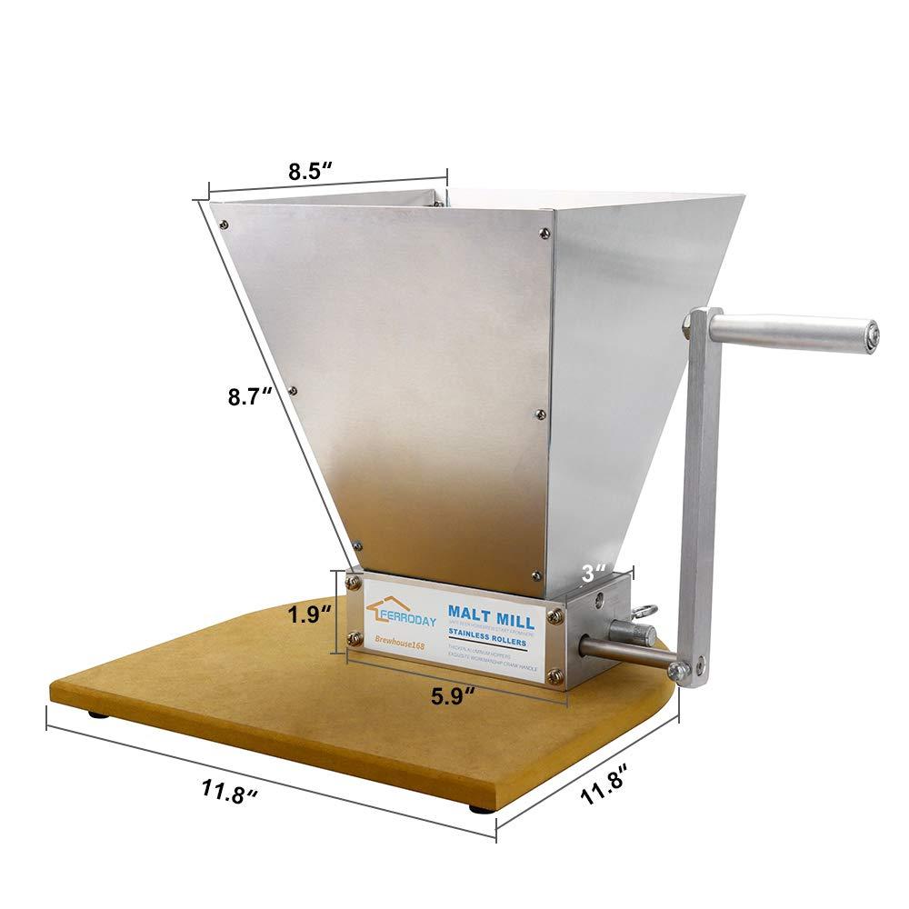 FERRODAY Malt Crusher Stainless Steel 2 Roller Malt Mill Homebrew Grain Crusher Manual Adjustable Barley Grinder With Wooden Base (medium) by Ferroday (Image #6)