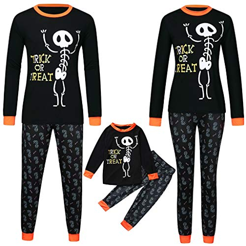 Pumpkin Ideas For Halloween No Carving (FEDULK Halloween Pajamas Set for Family Tops+Pants Holiday Festival Costume Dad Mom Kid Clothes Sleepwear Set(Kid,)