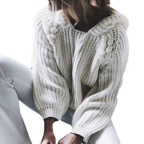 IEason Women top Women Hooded Pearl Long Sleeve Knitted Pullover Sweater Jumper Tops Knitwear by IEason Women top