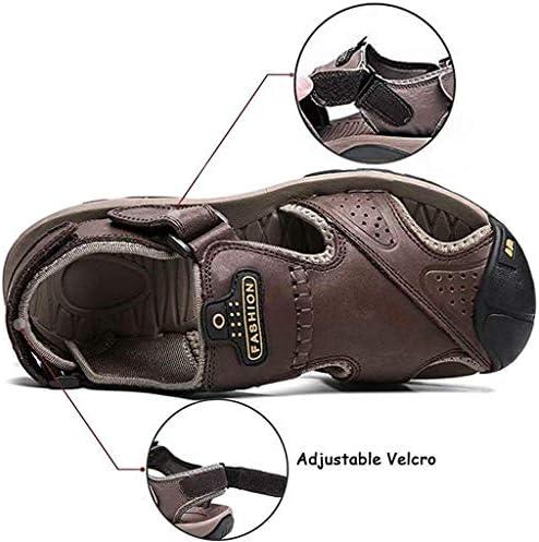 Sport sandalen voor Athletic Hiking Visser Leer van Mensen gesloten teen sandalen Heren Wandelen Vrouwen Strap Schoenen,Light brown,46