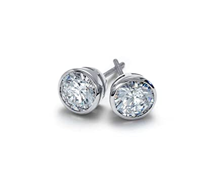 9d46c3534 Blue Nile Diamond Jewelry Platinum Round Bezel Cup Stud Earrings GIA  Certified, Colorless, Signature