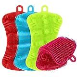 Kitchen Silicone Sponge, TIMGOU 4 Pack Anti-Bacterial Cleaning Scrubber Pot Holder Multipurpose Dish-Washing Mildew Free Brush for Dish Vegetables Baby Bottles