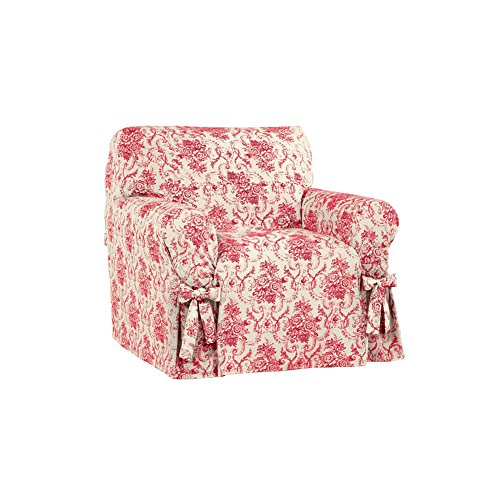 Chateau Floral Furniture Slip Cover with Ties, Red, Chair (Furniture Slipcover Floral)