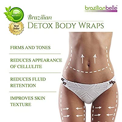 Brazilian Detox Clay Body Wraps Slimming Home Spa Treatment for Cellulite, Weight Loss, Stretch Marks   Natural, Purifying Detoxifier for Smooth, Toned Skin (10 Applications)