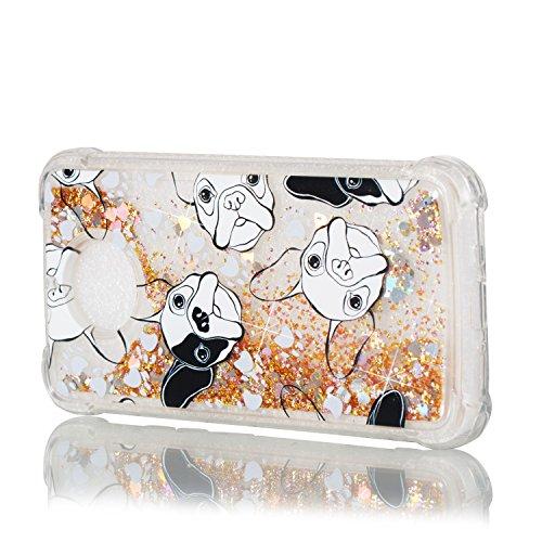 Qiaogle Teléfono Caso - Funda de TPU Flowing Liquid Floating Glitter Stars Quicksand Carcasa Cover para Samsung Galaxy J5 (2016) / J510 (5.2 Pulgadas) - YB90 / Paris YB89 / Bulldog