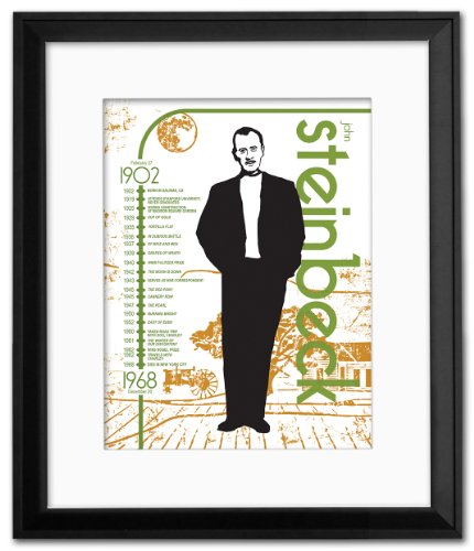Mini Important Authors: John Steinbeck Framed Educational Poster. Eco-friendly, English Literature Art ()