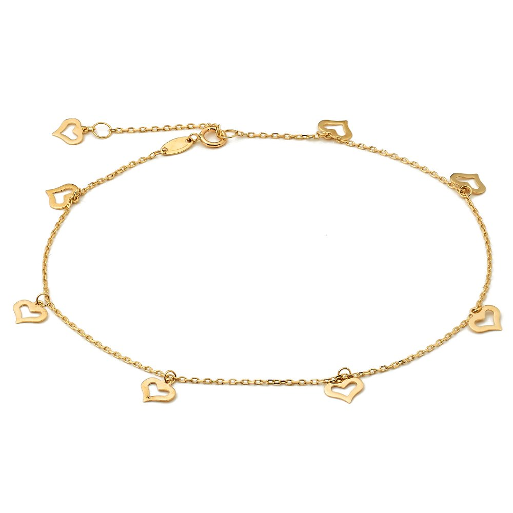 LOVEBLING 10K Yellow Gold .50mm Diamond Cut Rolo Chain with 8 Heart pendants Anklet Adjustable 9'' to 10'' (#12)