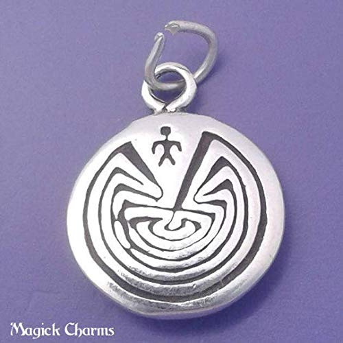 (Man in Maze, Labyrinth - .925 Sterling Silver Charm Jewelry Making for Bracelet Pendant)