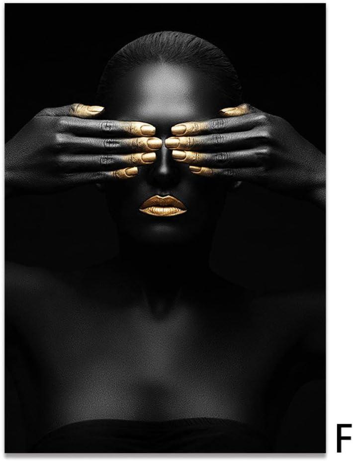 Cuadro En Lienzo,Abstracto Moderno Oro Negro Las Mujeres Africanas No Ver Imágenes De Impresión sobre Lienzo Carteles Decoración De Arte Nórdico De Pinturas para La Decoración del Hogar Sin Marco