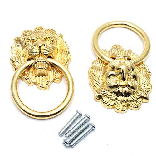 Sydien 91x51mm Lion Head Ring Pulls/Handles for Dresser, Drawer, Cabinet, Door,Cupboard, Closet 2 Pcs (Gold) ()