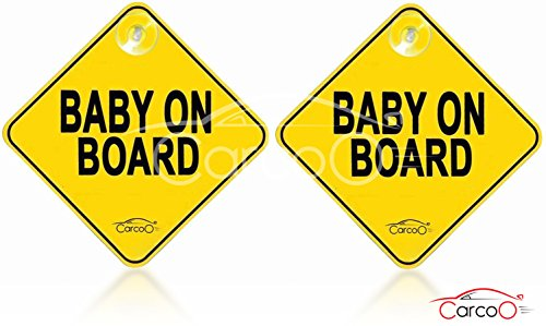 Baby on board by CarCoo – Baby car sign, Baby on board sign, car baby sign with suction cups, 2 Pack,