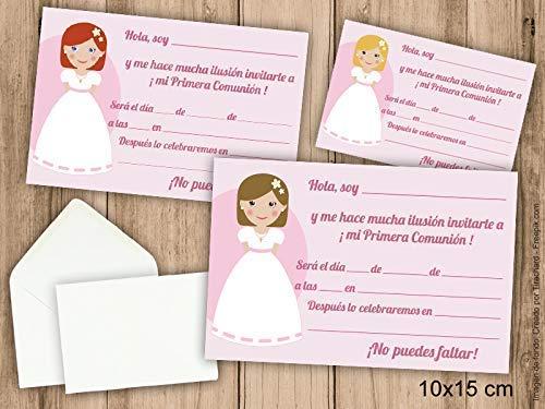 Invitaciones de Primera Comunión niña. Pack 6 udes. Con sobres ...