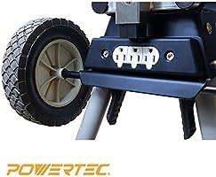 POWERTEC Miter Saw Stand Deluxe Wheels 110 Volt Power Outlet Locking Steel Legs