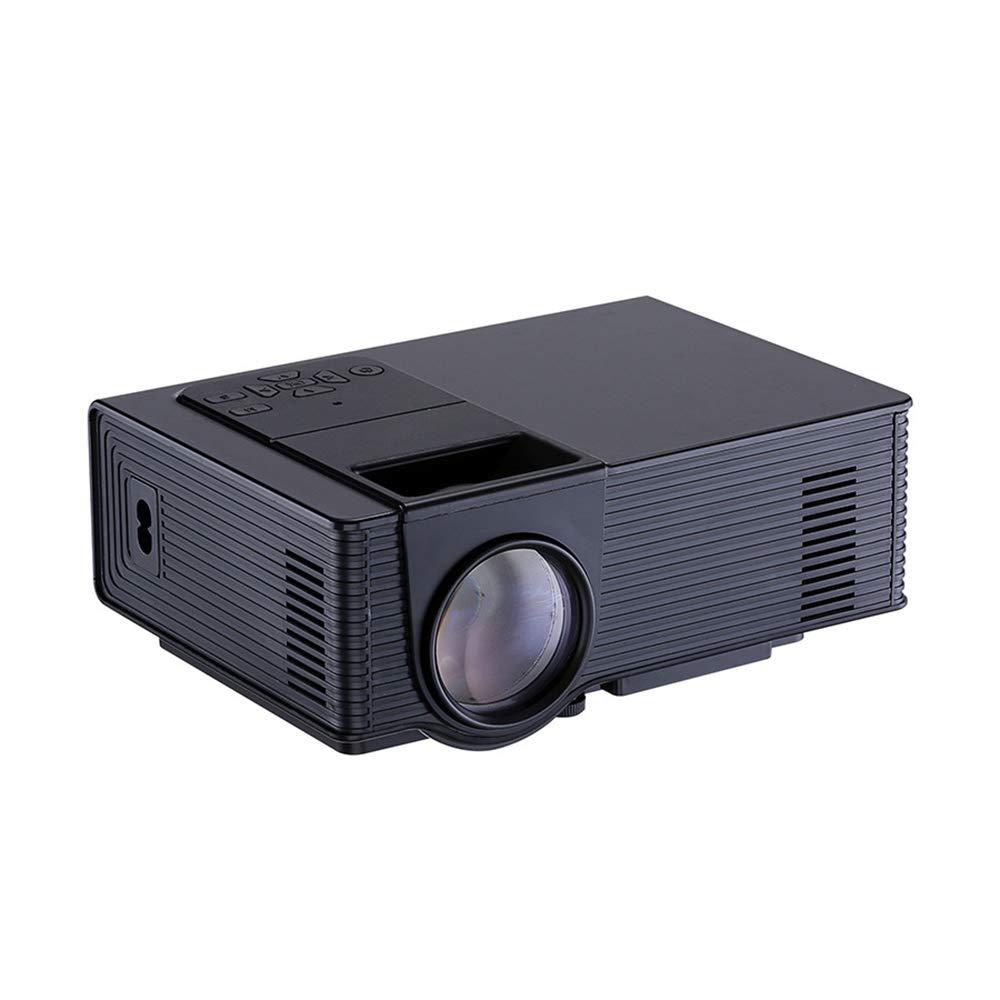 ビデオプロジェクター、ポータブルホームシアター LCD HD ビデオプロジェクター、180インチ大画面とデュアルハイファイスピーカー、1080p HDMI/VGA/AV 複数のポートをサポート B07QLTF1BT