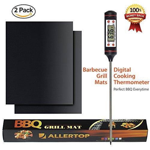 AllerTOP - Juego de 2 Parrillas para Barbacoa (Resistentes, antiadherentes, termómetro Digital para Cocina, Ahorra Dinero...