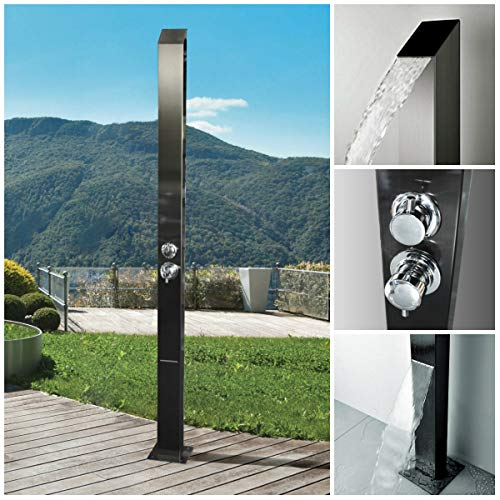 Toorak Black 316 Marine Grade Stainless Steel Massage Outdoor Shower Pane Swimming Pool Backyard Bathroom Hot & Cold Rainfall Hand Held Wall Mounted or Free Standing Outside Shower ()