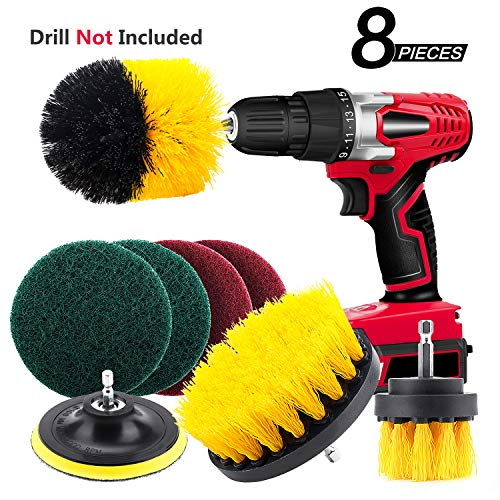 8 Pieces Drill Brush Attachment Set – Mikikin Scrub Brush Power Scrubber Drill Brush Kit Scouring Pad All Purpose Cleaning Kit for Bathroom, Toilet, Grout, Floor, Tub, Shower, Tile, Auto, Kitchen