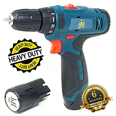 JPT HEAVY DUTY 12V CORDLESS DRILL/SCREW DRIVER WITH 2 BATTERIES 13