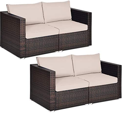 Tangkula 4 PCS Outdoor Wicker Corner Sofa Set, Patio Rattan Loveseat w Removable Cushions, Sectional Sofa Set Additional Seats for Balcony Patio Garden Poolside Brown
