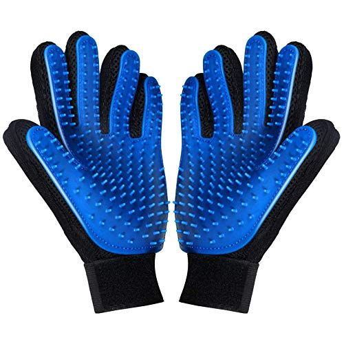 FMU [Upgrade Version] Pet Grooming Glove - Deshedding Brush Gloves for Dogs Cats - Pet Hair Remover Gloves for Long & Short Fur - Enhanced Five Finger Design - Pet Glove Hair Removal - 1 Pair