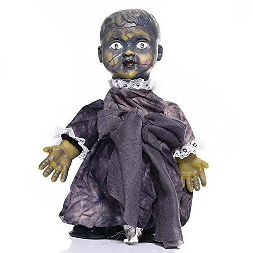 YULIANG Demon Baby with Sound Halloween Prop Devil Speaking Moving and Screaming Ghost Baby Doll for Halloween Party