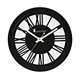 Solimo 11.25-inch Wooden Wall Clock (Silent movement, Black Frame)