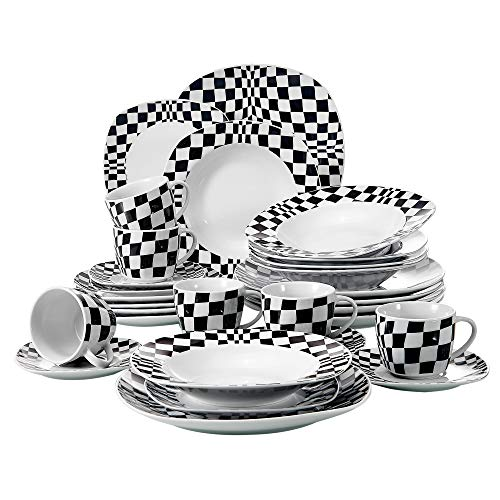 VEWEET with Dinner, Soup, Dessert, Saucer and Mug 30-Piece Porcelain Dinnerware Square Black Mosaics Pattern Plate Sets, ()