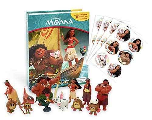 Phidal Moana Story Book and Action Figures Playset Toys Bundle with Stickers Set