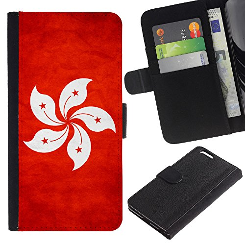 EuroCase - Apple Iphone 6 PLUS 5.5 - Hong Kong Grunge Flag - Cuir PU Coverture Shell Armure Coque Coq Cas Etui Housse Case Cover