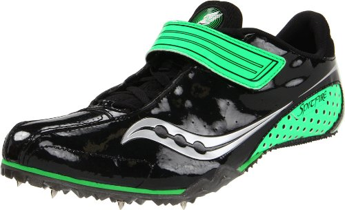 Saucony Men's Spitfire Track Shoe,Black/Slime,10.5 M US (Best Long Jump Spikes)