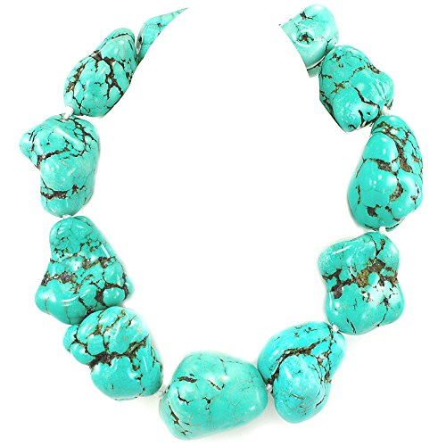 Large Green Magnesite Turquoise Nugget Hand knot Sliver Tone Necklace 20''-22''N17050404 - Necklace Nugget Green Turquoise
